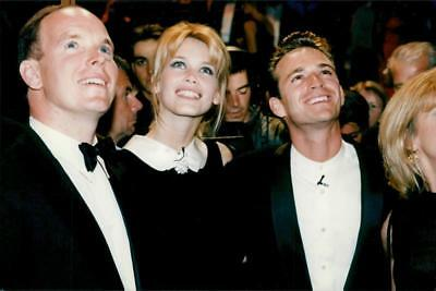 Vintage photo of Claudia Schiffer together with Prince Albert and Luke Perry at