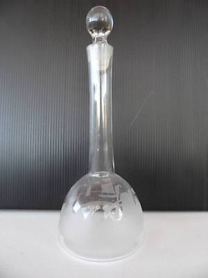 Antique Vintage etched Glass decanter bottle with windmill scene smaller size