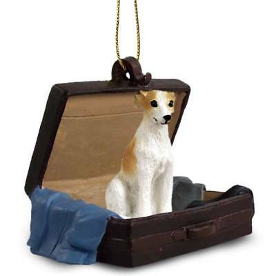 Whippet Tan White Traveling Companion Dog Figurine In Suit Case Ornament