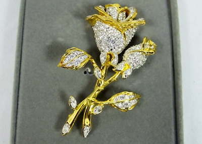 Nolan Miller Glamour Collection Rose Bud Brooch Glittering Rhinestones w/Box