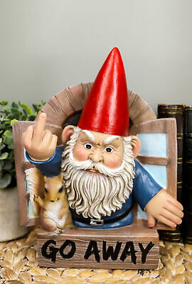 """Go Away"" Rude Gnome And Squirrel At The Window Flipping Off Wall Decor Figurine"