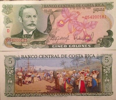 Costa Rica 1986 5 Colones Uncirculated Banknote P-236 Colorful From Usa Seller !
