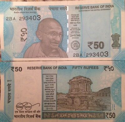 India 2017 50 Rupees Unc Banknote Mahatma Gandhi P-New Buy From A Usa Seller !!