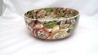 "Vintage MYOTT England BERMUDA Round Salad Serving Bowl 10"" Brown"
