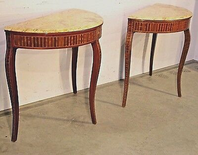 Rare PAIR Art Deco marquetry hall console tables Sienna marble mid century inlay
