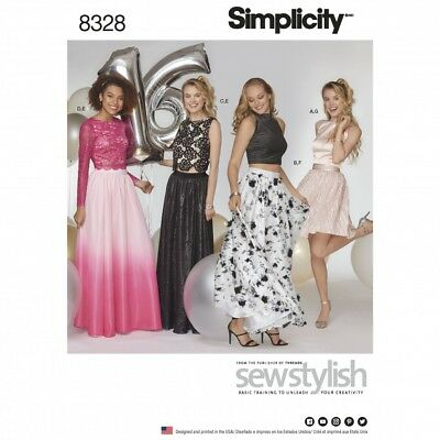 Simplicity 8328 D00864 Special Occassion 2-Piece Dress Top Skirt Formal Sewing