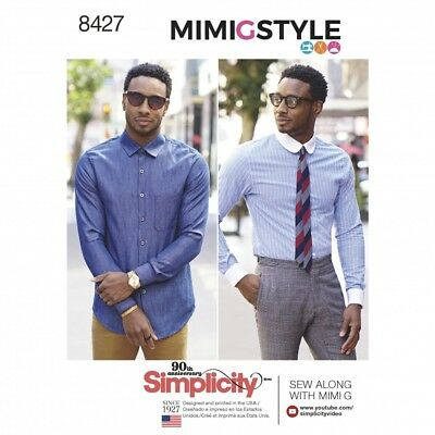 60fe7f3f6cd Simplicity Mens Sewing Pattern 8427 Fitted Shirt with Collar   Cuff Varia.