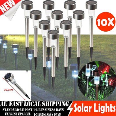 10x White Light LED Solar Lawn Light Garden Outdoor Landscape Stake Path Lamp AU