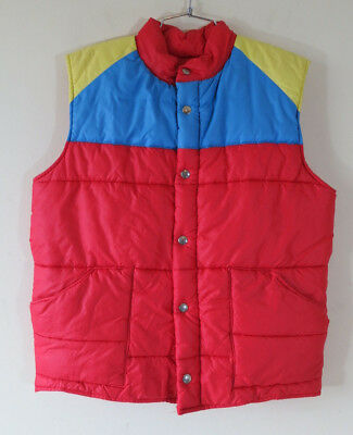 Vtg 70s 80s red rainbow color block puffer quilted vest snap front
