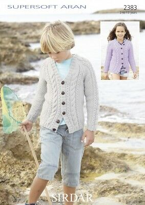 Sirdar Childrens Cardigans Supersoft Knitting Pattern 2383 Aran (Sirdar-2383)