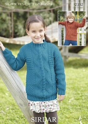 Sirdar Childrens Sweaters Supersoft Knitting Pattern 2392 Aran (Sirdar-2392)