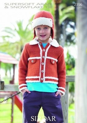 Sirdar Childrens Jacket & Hat Supersoft Knitting Pattern 2396 DK, Aran (...