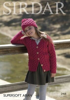 Sirdar Girls Cardigan & Hat Supersoft Knitting Pattern 2468 Aran (Sirdar...