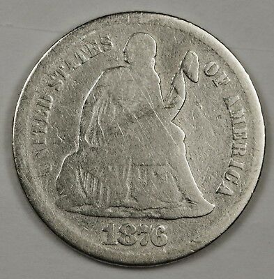 1876-s Liberty Seated Dime.  Circulated.  119463
