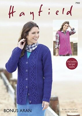 Hayfield Ladies Cardigan & Waistcoat Knitting Pattern 7900 Aran (Sirdar-...