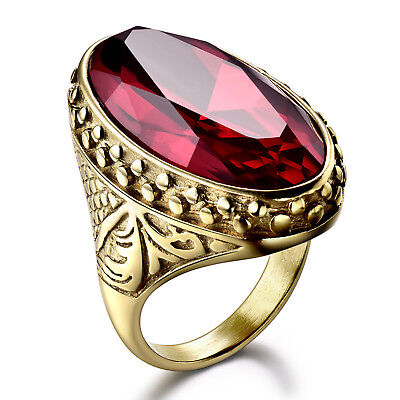Golden Stainless Steel Oval Ruby Crystal Men Gold Filled Party Cameo Ring BOX