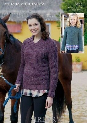 a4894e54195bc Sirdar Ladies   Girls Sweaters Click Knitting Pattern 9622 Chunky (Sirda.