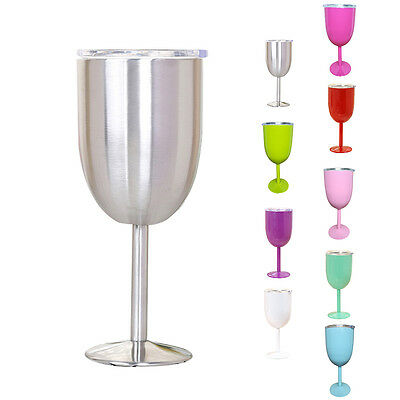 10oz Wine Glass Double Wall Insulated Tumbler w/Lid Stainless Steel Kitchen US