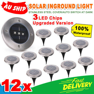 12pcs 3Led Solar Powered Buried Inground Recessed Light Garden Outdoor Deck Path