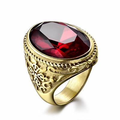 Retro Flower Relief Golden Stainless Steel Oval Ruby Men Party Rider Finger Ring