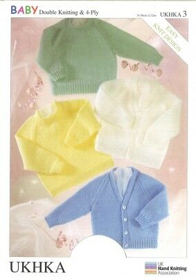 UKHKA Baby Sweaters & Cardigans Knitting Pattern No 3  DK, 4 Ply - each (...