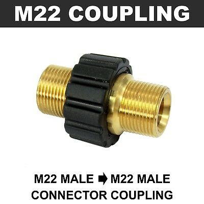 M22 Male to M22 Male Grip Coupling Connector BRASS Pressure Washer Hose Adapter