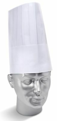 """10 x Click White Disposable 9"""" Tall Pleated Chefs Hat Catering Cook Food Hygiene"""