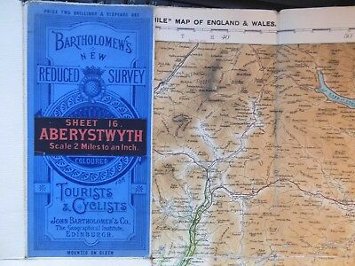 Aberystwyth-1912 Wales:antique Cyclists Touring Club Map-Bartholomew-Full Colour