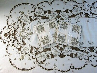 Madeira Linen Tablecloth Napkins Hand Emboidered Antique and Vintage Linens