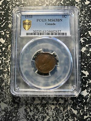 1933 Canada Small Cent PCGS MS63 Brown Lot#G675 Nice UNC Example!
