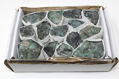 Bulk 'AAA' Grade Rough Natural Emerald Raw Mineral Clusters: 11-15 Piece Box Lot
