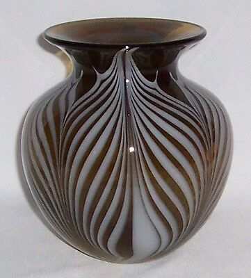 Signed Art Glass Vase W/ Pulled Feathers