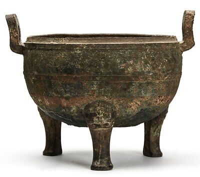 Ancient Chinese Bronze Ceremonial Ding Late Shang Dynasty