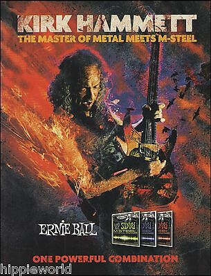 Metallica Kirk Hammett Ernie Ball M-Steel guitar strings ad 8 x 11 advertisement
