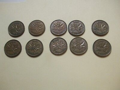 CANADA 1 CENT lot of 10 CANADIAN PENNY 1939 - 1951 VGC L@@K!