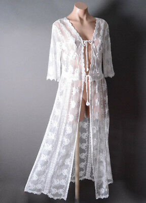 Ivory Lace Boho Victorian Romantic Crochet Long Cardigan Cover Up Jacket S M L
