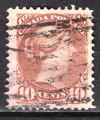 CANADA #45 10c BROWN RED, 1897 SQ, F, ROLLER CANCEL
