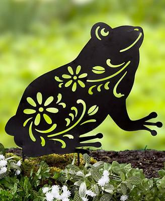 Black Die-Cut Metal Frog Silhouette Garden Yard Planter Stake Outdoor Home Decor