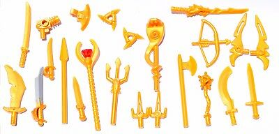 5 Lego gold Minifigure Weapons Bow with Arrow NEW LOT
