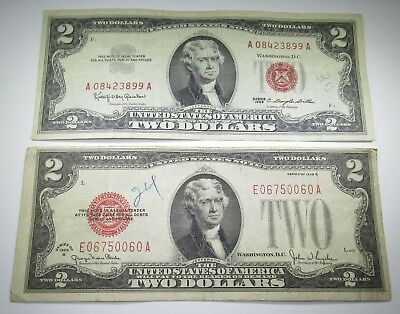 1928 1963 U.S. Two Dollar Bills 2 US Paper Note Money Antique Currency Red Seal