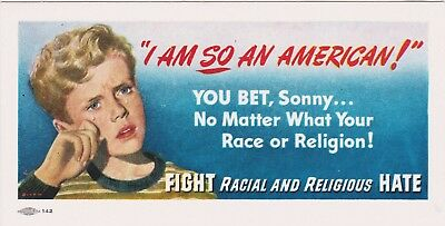 Rare Orig 1946 Public Service Card I Am So American Fight Racial Religious Hate