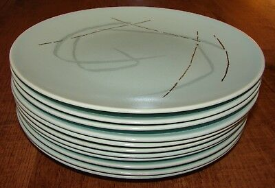 11 ~ Mid Century Modern Russell Wright Knowles Aqua Grass Dinner Plates 10 1/4""