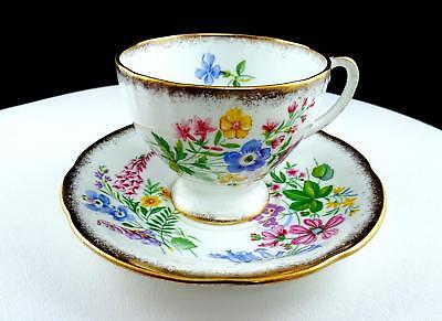"""Royal Standard Country Lane Brush Gold Rim And Floral 2 3/4"""" Cup And Saucer Set"""