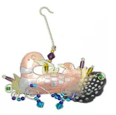 Loon Momma Baby Bird Ornament Metal Fair Trade Pilgrim Imports New