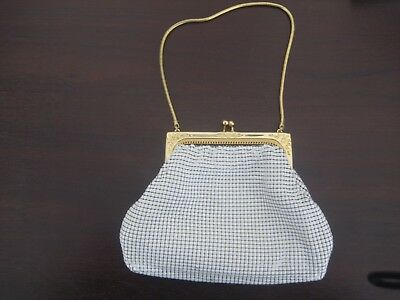 Vintage Glomesh Purse from 1970's White Mesh with Gold trim + Gold Chain Handle