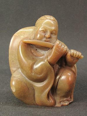 """Chinese Eight Immortal """"Han Xiang Zi"""" Carved Shoushan Stone Seal Stamp Signet"""