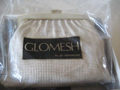 Vintage Glomesh Purse from 1970's CREAM Mesh with Gold trim + Gold Chain Handle