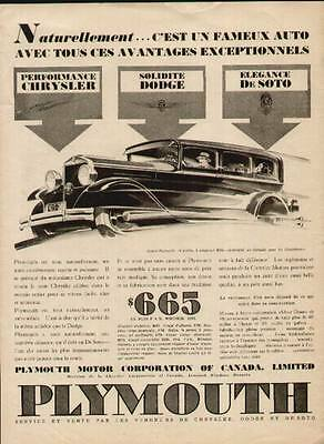 1931 Plymouth 4-door Sedan French ad