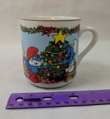 "The Smurfs Merry Christmas 1983 Coffee Cup Mug ""The Night Before Christmas"""