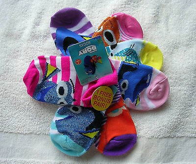 """L@@k  Girl's  """"FINDING DORY""""  7 Pairs No-Show SOCKS FITS SIZE S/M  9 - 2.5  NWT"""